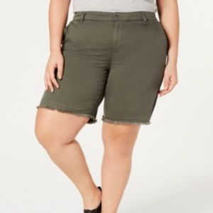 Style&Co Green Mid-rise Shorts with Raw Hem